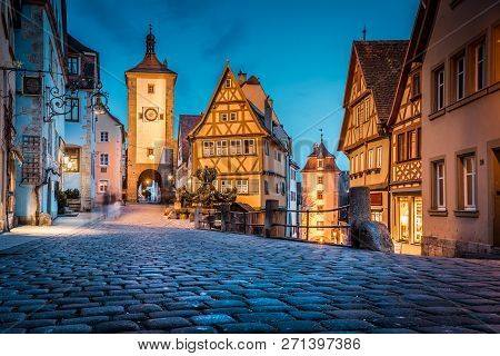 Classic View Of The Medieval Town Of Rothenburg Ob Der Tauber Illuminated In Beautiful Evening Twili