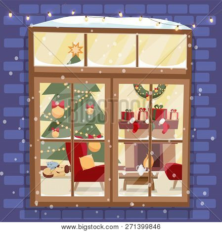 Outside Brick Wall With Window - Christmas Tree, Furnuture, Wreath, Fireplace, Stack Of Gifts And Pe