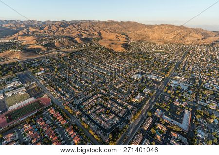 Aerial view of of Simi Valley and Rocky Peak near Los Angeles in Ventura County, California.
