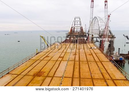 Construction of the bridge. Engineering facilities for the construction of a railway and automobile bridge across the strait. poster