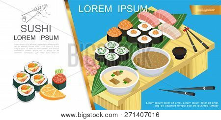 Isometric Asian Food Composition With Sushi And Sashimi Different Ingredients Seaweed Soy Sauce Wasa