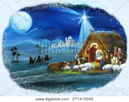 Traditional Christmas Framed Scene With Holy Family For Different Usage