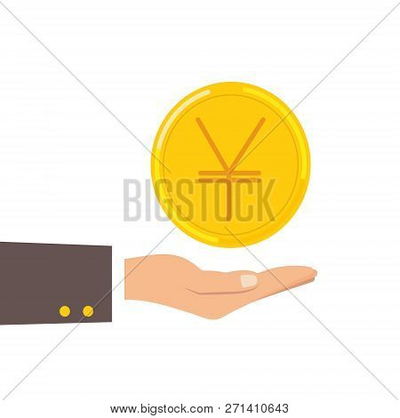 Hand Hold Japanese Yen Coin Isolated On Background. Money, Currency Cash Symbol Icon. Business, Econ