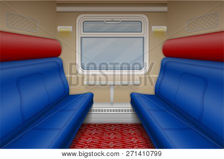Train Compartment Inside View Indoor Vector Illustration