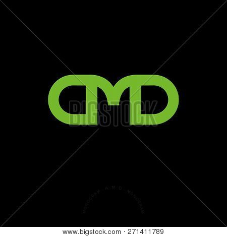 A, M And D Letters. A, M And D Linear Monogram On A Dark Background. Three Letters Consist Of Green