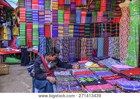 Taunggyi, Myanmar - Feb 8, 2018. Colorful Textile For Sale At Street Market In Taunggyi, Myanmar. Ta