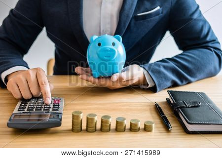 Coin Stacks For Step Up Growing Business To Profit And Saving With Piggy Bank, Saving Money For Futu