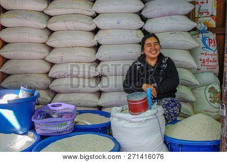 Taunggyi, Myanmar - Feb 8, 2018. Selling Rice At Market In Taunggyi, Myanmar. Taunggyi Is The Capita