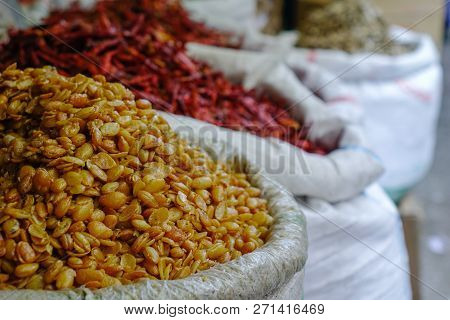 Dry Food For Sale At Rural Market In Taunggyi, Myanmar.