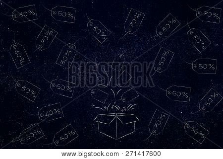 Buying Gifts And Promotions Concept: Parcel With Price Tags Flying Out Surrounded By Others With Pro
