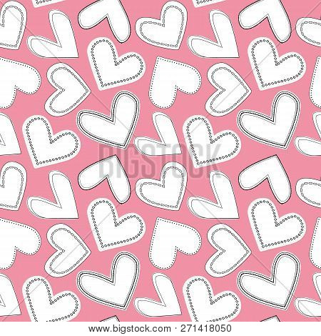 White And Black Line Art Doodle Hearts As Seamless Multidirectional Vector Pattern On Soft Pink Back