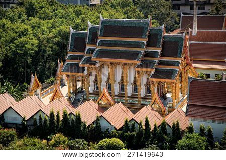 Elevated exterior view of Buddhist temple in Pattaya, Thailand