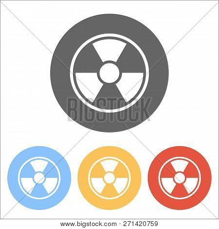 Hazard, Radiation. Simple Silhouette. Set Of White Icons On Colored Circles