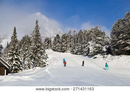 Mountain Ski Tracks On Resort Strbske Pleso, High Tatras, Slovakia - Misty Winter Day. Skiers Ride I
