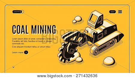 Coal Mining Isometric Vector Web Banner With Bucket-wheel Excavator Working In Quarry Line Art Illus