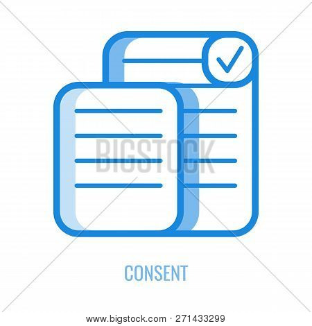 Consent Line Icon - Outline Symbol Of Documents With Personal Information And Checkbox With Mark.