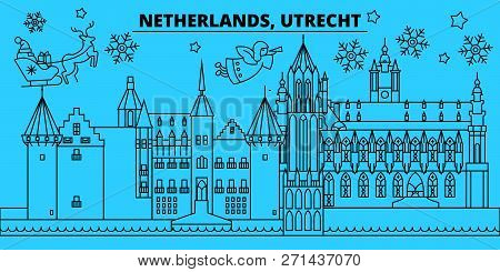 Netherlands, Utrecht Winter Holidays Skyline. Merry Christmas, Happy New Year Decorated Banner With