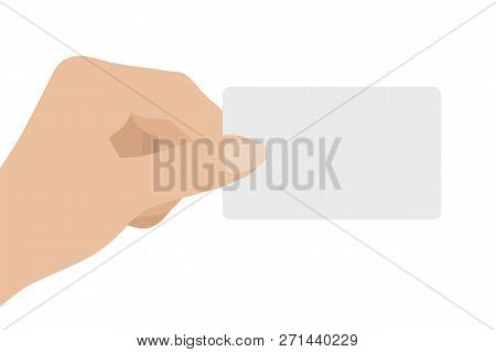 Hand Holding White Card, Isolated On White Background