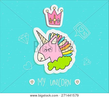 Cute Cartoon Unicorn With Crown Vector Illustration. Happy Uni Orn With Horn And Colored Hair, Pink