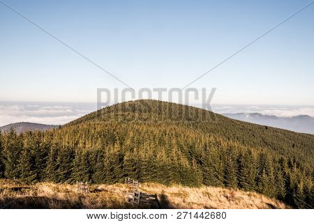 View To Malchor Hill From Hiking Trail Bellow Lysa Hora Hill In Moravskoslezske Beskydy Mountains In