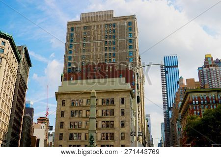 New York City - August 25, 2018: View Of The Commodore Criterion Building, Now Renamed Porcelanosa B