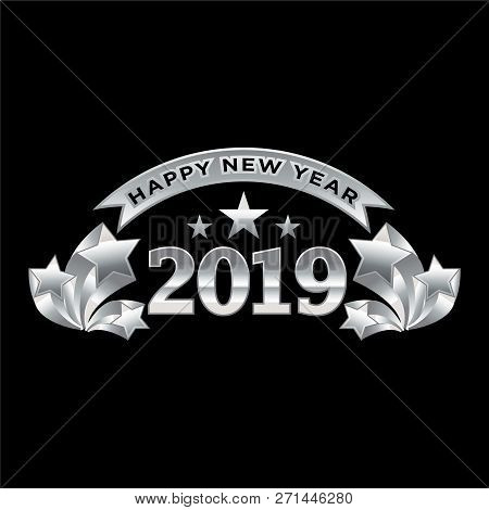 2019 On Black Background, New Year 2019, 3d Illustration, Happy New Year 2019, Red 3d Numbers, New Y