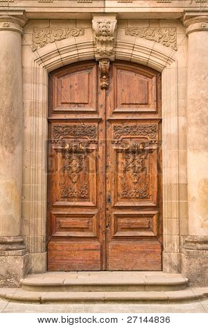 a closeup of old wooden door