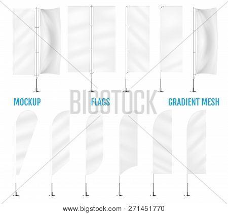 White Textile Banner Flags. Banner Flag Mockups Set. Set Of Vect