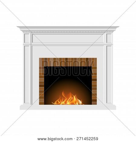 Fireplace With Natural Fire And Bricks In A Classic Style. Element Of The Interior Of The Living Roo