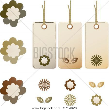 Earthtone floral stickers and tags with strings poster