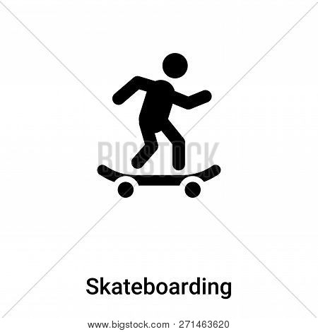 Skateboarding Icon In Trendy Design Style. Skateboarding Icon Isolated On White Background. Skateboa