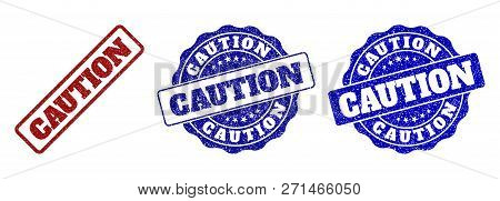 Caution Grunge Stamp Seals In Red And Blue Colors. Vector Caution Watermarks With Grainy Surface. Gr