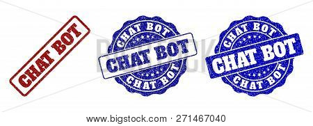 Chat Bot Grunge Stamp Seals In Red And Blue Colors. Vector Chat Bot Labels With Draft Surface. Graph