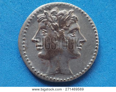 Ancient Roman Coin With Janus Bifrons God