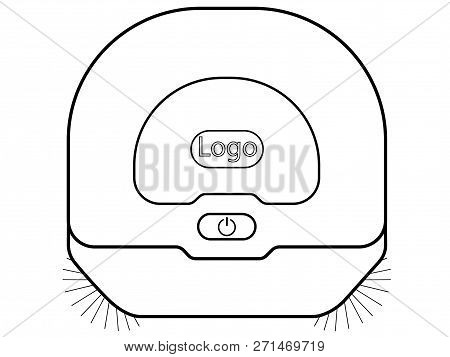 Robotic Vacuum Cleaner. Top View Linear Picture Hoover. Robot Vacuum Cleaner With Rotating Brushes.