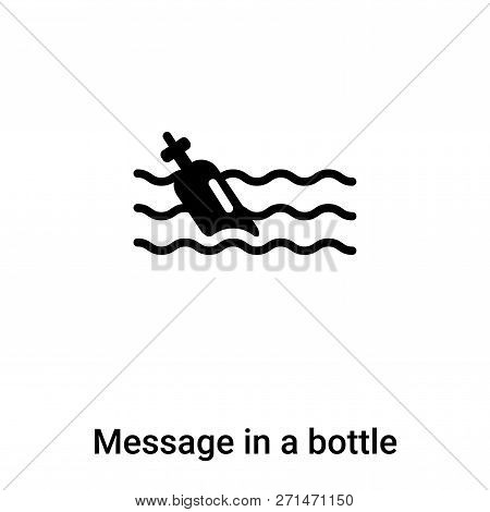 Message In A Bottle Icon In Trendy Design Style. Message In A Bottle Icon Isolated On White Backgrou