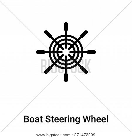 Boat Steering Wheel Icon In Trendy Design Style. Boat Steering Wheel Icon Isolated On White Backgrou