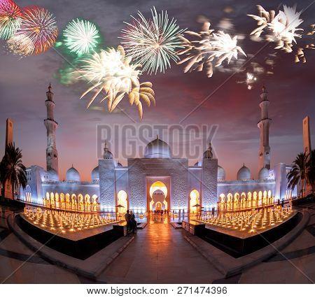 Sheikh Zayed Grand Mosque Against Firework In Abu-dhabi, United Arab Emirates