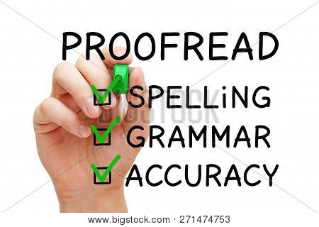 Hand filling Proofread checklist concept with checked boxes on spelling, grammar and accuracy. poster