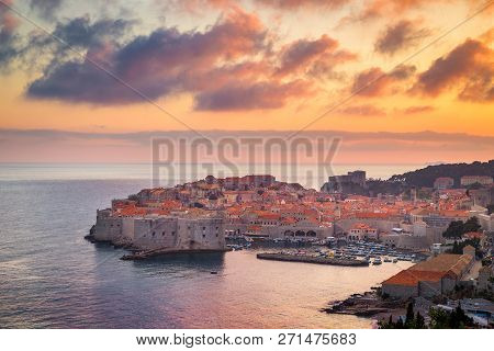 Panoramic Aerial View Of The Historic Town Of Dubrovnik, One Of The Most Famous Tourist Destinations