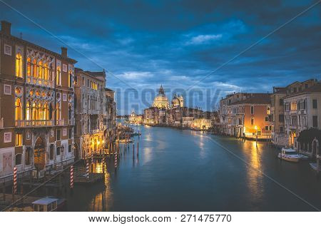 Classic View Of Famous Canal Grande With Historic Basilica Di Santa Maria Della Salute In The Backgr
