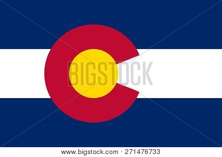 Flat Colorado State Flag - United States Of America