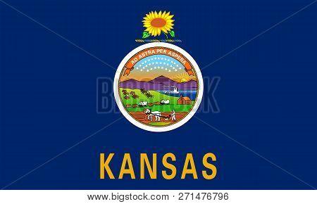 Flat Kansas State Flag - United States Of America