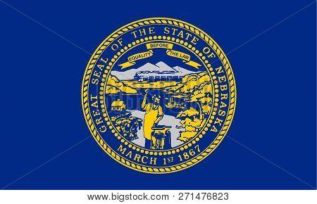 Flat Nebraska State Flag - United States Of America