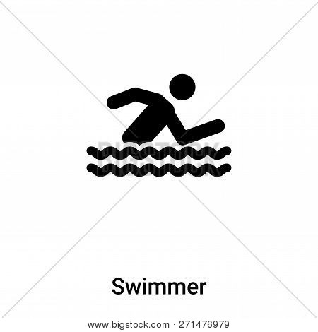 Swimmer Icon In Trendy Design Style. Swimmer Icon Isolated On White Background. Swimmer Vector Icon