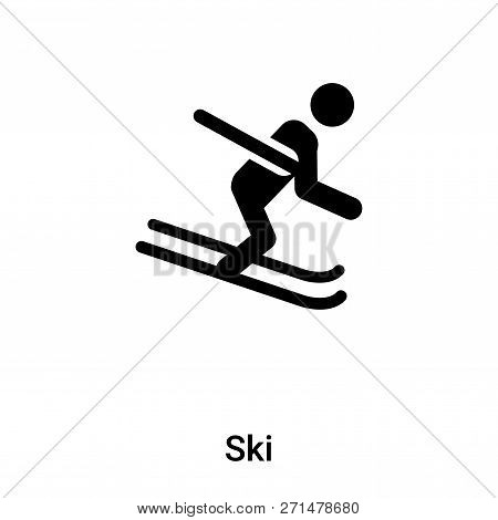 Ski Icon In Trendy Design Style. Ski Icon Isolated On White Background. Ski Vector Icon Simple And M