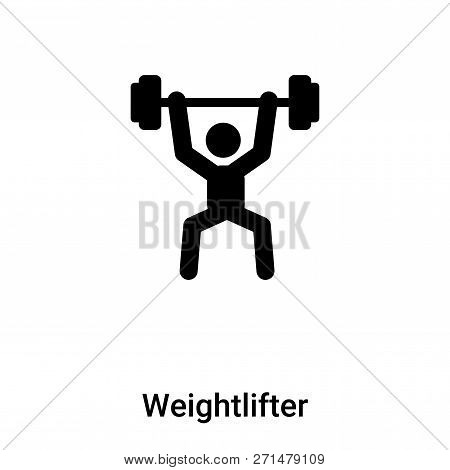 Weightlifter Icon In Trendy Design Style. Weightlifter Icon Isolated On White Background. Weightlift
