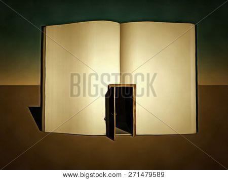 Surreal painting. Clean book with opened door. 3D rendering