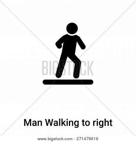 Man Walking To Right Icon In Trendy Design Style. Man Walking To Right Icon Isolated On White Backgr