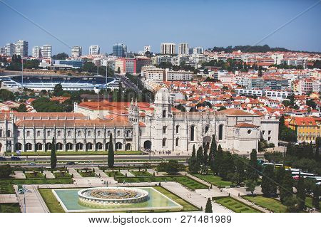 The Jeronimos Monastery Or Hieronymites Monastery, Near The Tagus River In The Parish Of Belem, In T